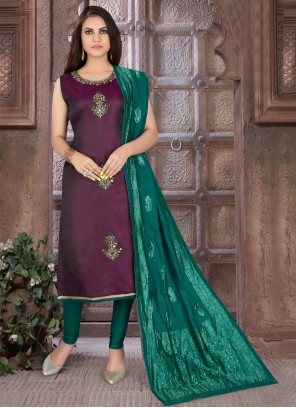 Embroidered Art Silk Purple Readymade Suit
