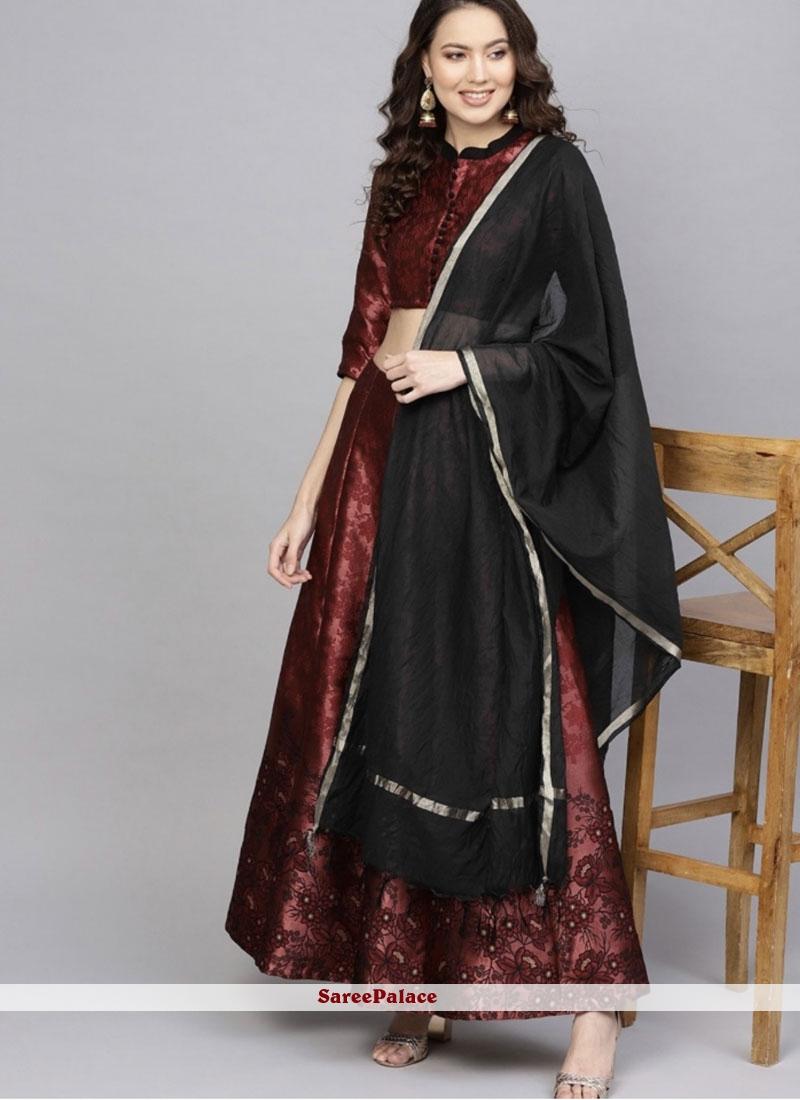 Embroidered Art Silk Readymade Lehenga Choli in Black and Maroon