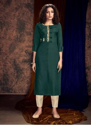 Embroidered Art Silk Readymade Salwar Kameez