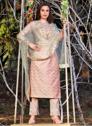 Embroidered Art Silk Pink Readymade Suit