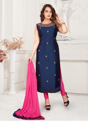 Embroidered Art Silk Readymade Suit in Blue