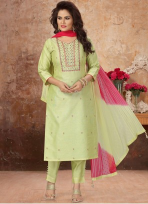 Embroidered Art Silk Readymade Suit in Green