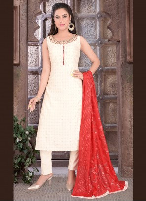 Embroidered Art Silk Readymade Suit in Off White