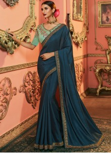 Embroidered Art Silk Saree in Teal