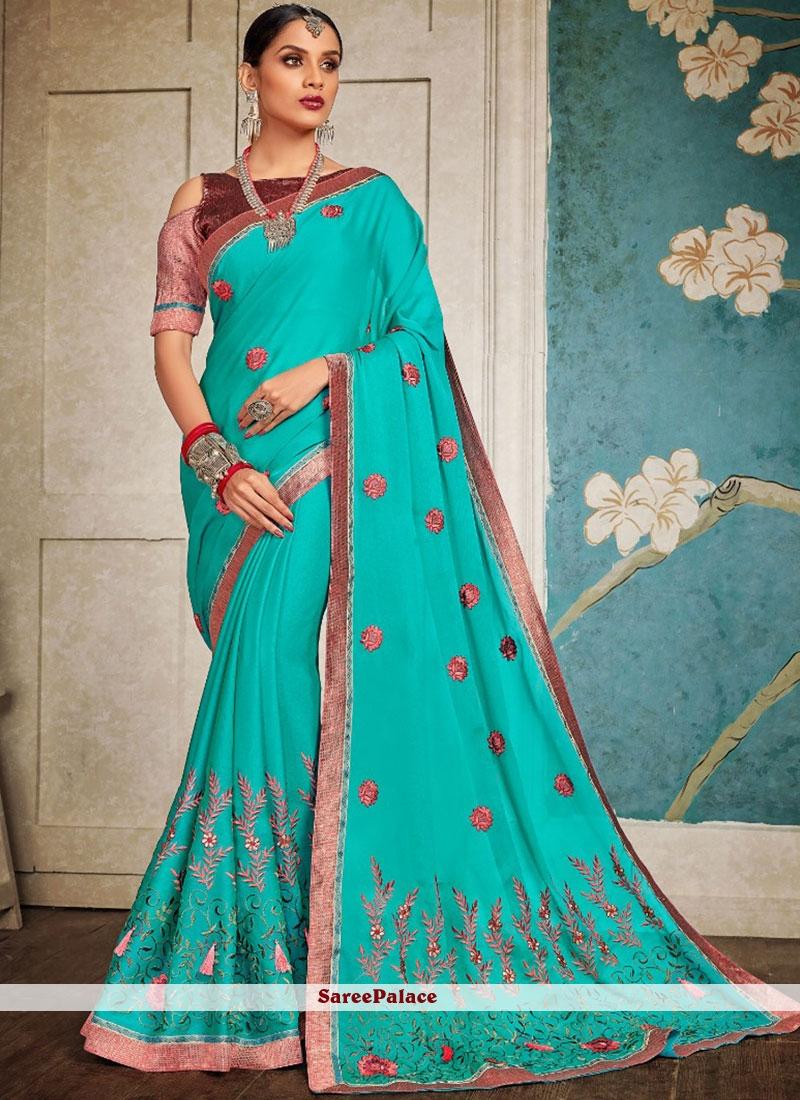 Sea Green Embroidered Art Silk Designer Saree