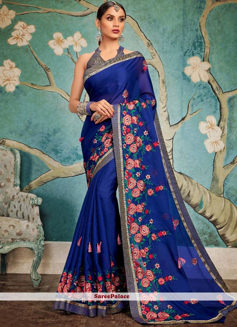 Embroidered Art Silk Traditional Designer Saree in Blue