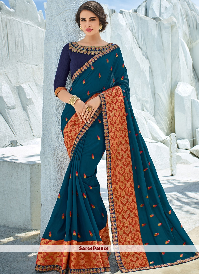 Embroidered Art Silk Traditional Designer Saree in Teal