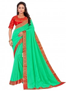 Embroidered Art Silk Green Traditional Saree
