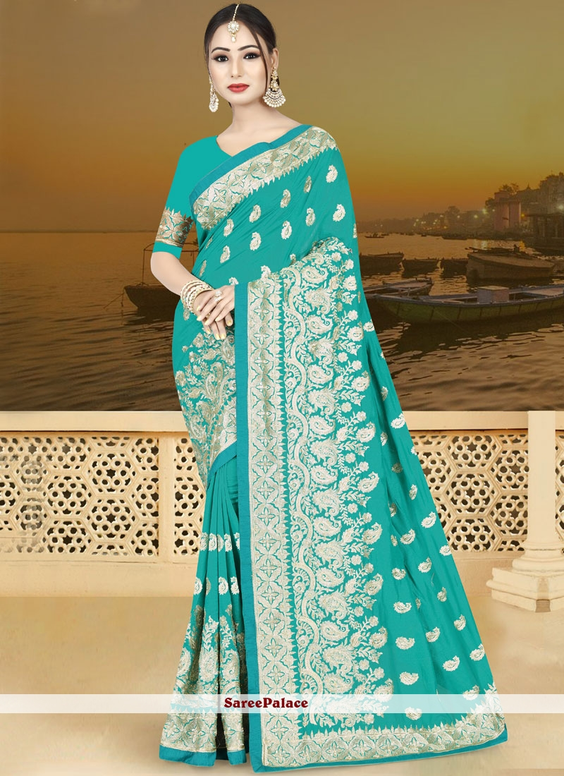 Embroidered Art Silk Traditional  Saree in Sea Green