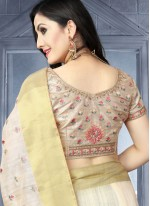 Embroidered Art Silk Traditional Saree in White