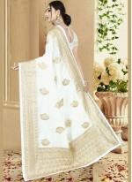 Embroidered Art Silk White Designer Saree