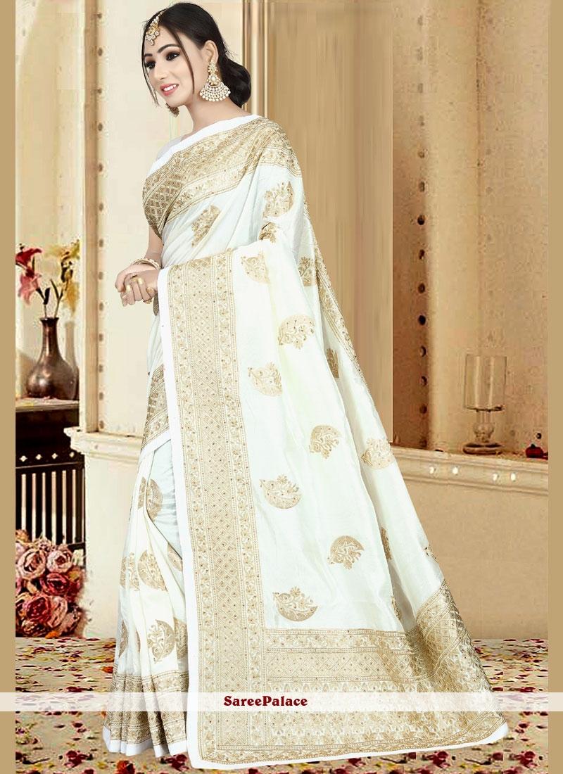 6a5549daf4 Buy Embroidered Art Silk White Designer Saree Online