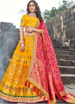 Embroidered Art Silk Yellow Designer Lehenga Choli