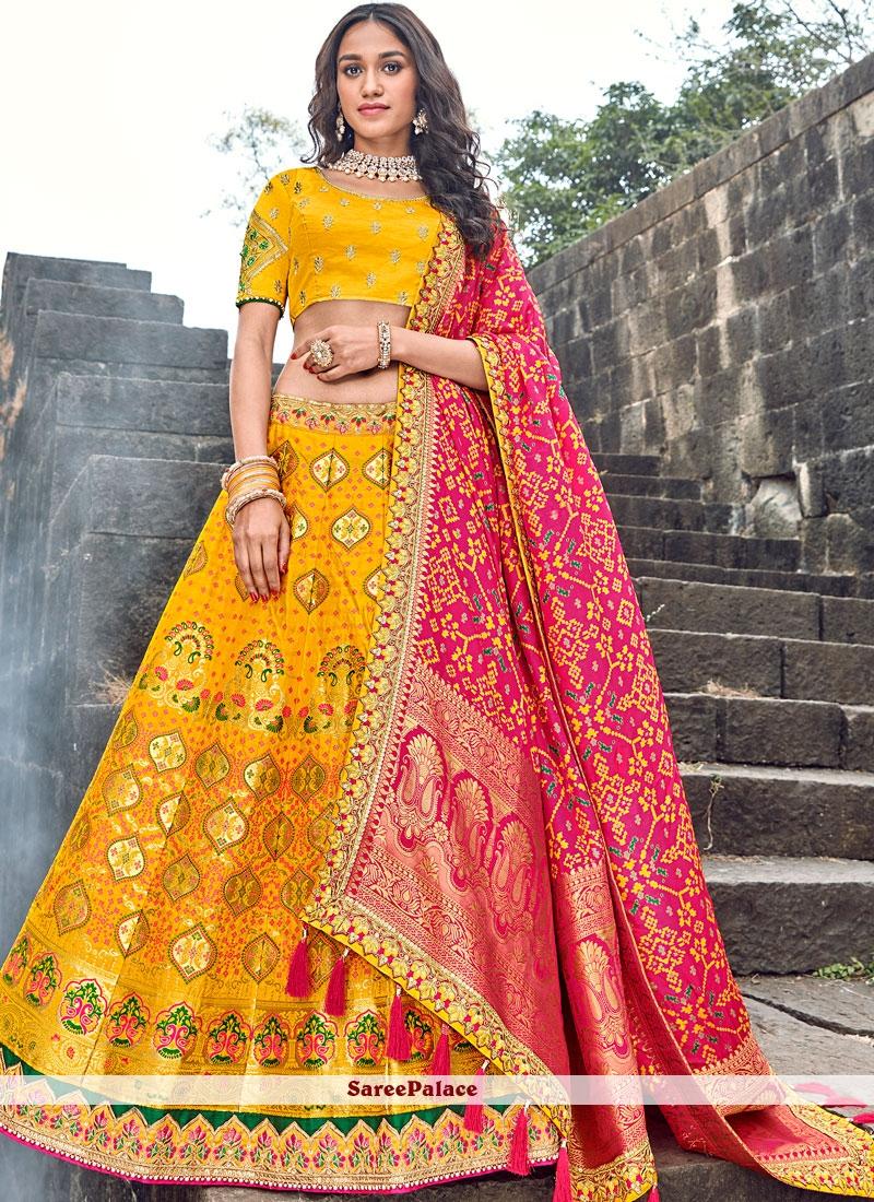 Embroidered Art Silk Yellow Designer Lehenga Choli