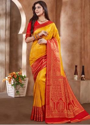 Embroidered Art Silk Yellow Designer Traditional Saree