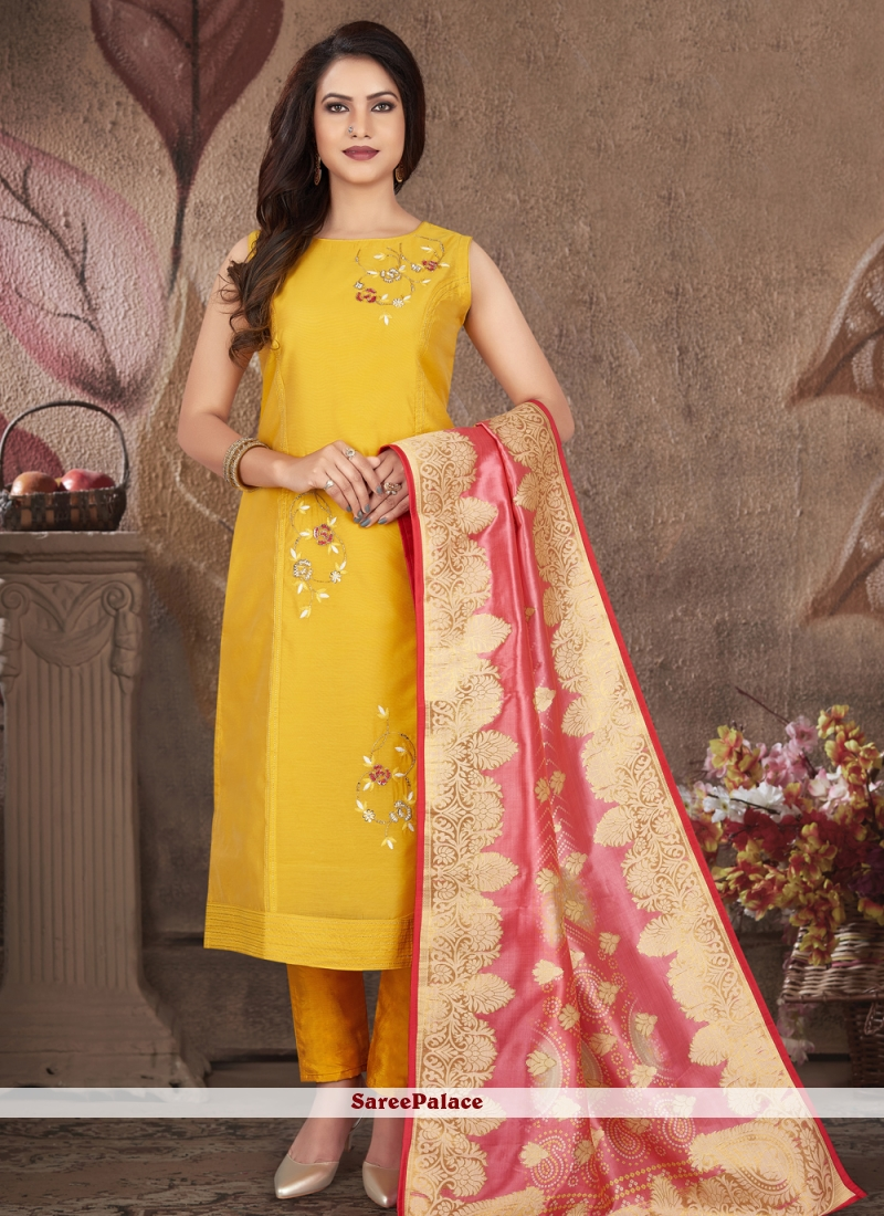 Embroidered Art Silk Yellow Readymade Suit