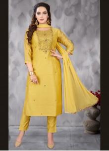 Embroidered Art Silk Yellow Salwar Kameez