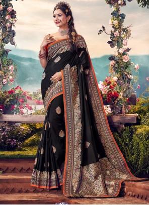 Embroidered Banarasi Silk Black Classic Saree