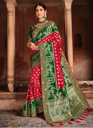 Embroidered Banarasi Silk Green and Red Designer Saree