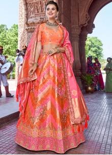 Embroidered Banarasi Silk Orange and Pink A Line Lehenga Choli
