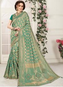 Embroidered Banarasi Silk Silk Saree in Green
