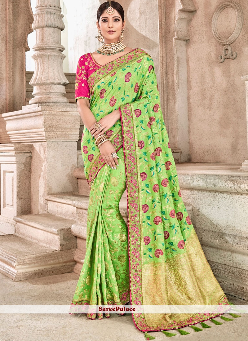Green Embroidered Banarasi Silk Traditional Designer Saree
