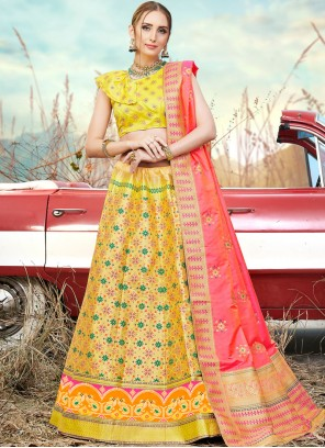 Embroidered Banarasi Silk Trendy A Line Lehenga Choli