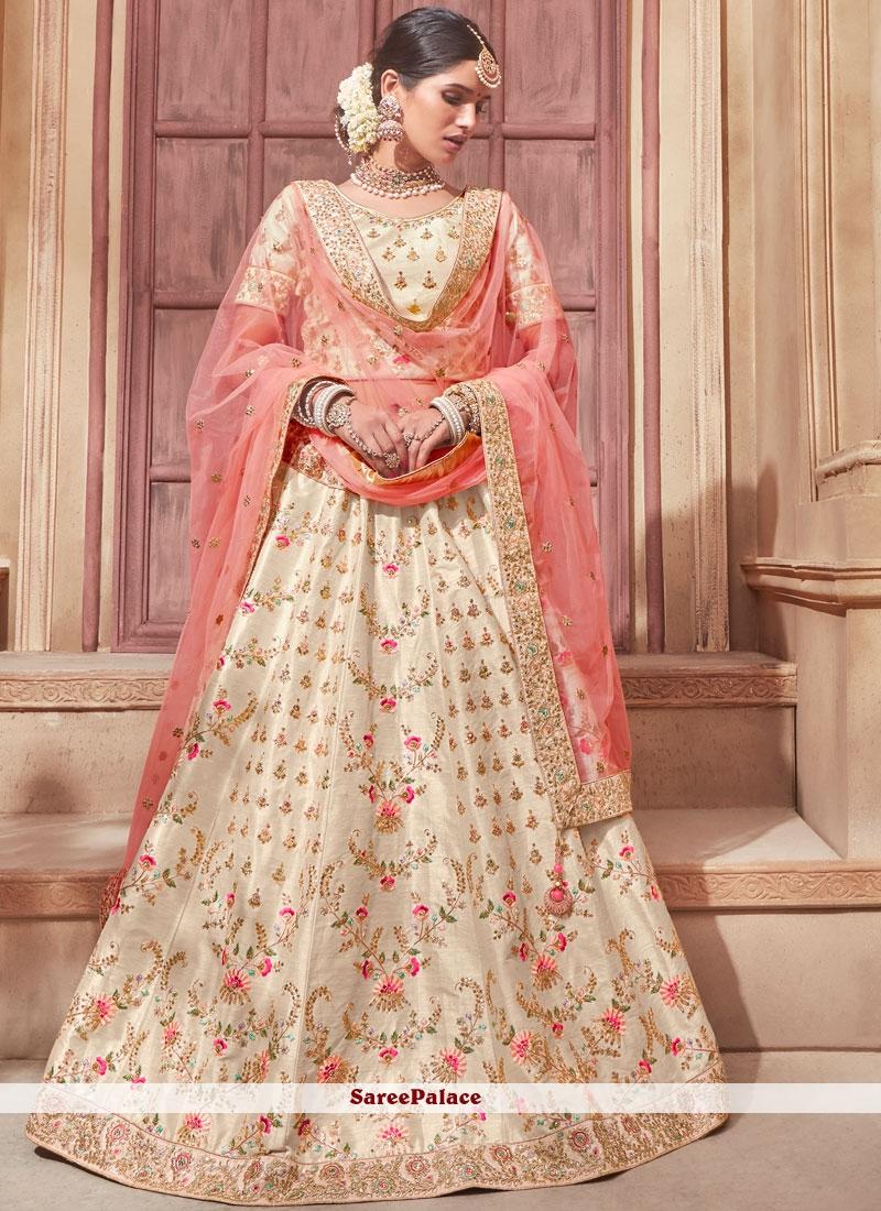 0a388d0258 Buy Embroidered Banglori Silk Lehenga Choli in Cream and Peach Online