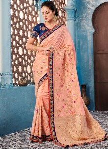 Embroidered Banglori Silk Trendy Saree in Peach