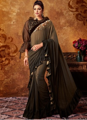 Embroidered Beige and Brown Classic Saree