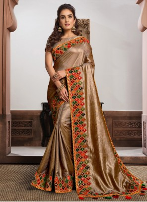 Embroidered Beige and Gold Classic Designer Saree