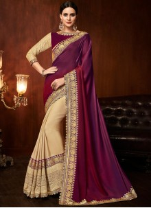 Embroidered Beige and Purple Designer Half N Half Saree