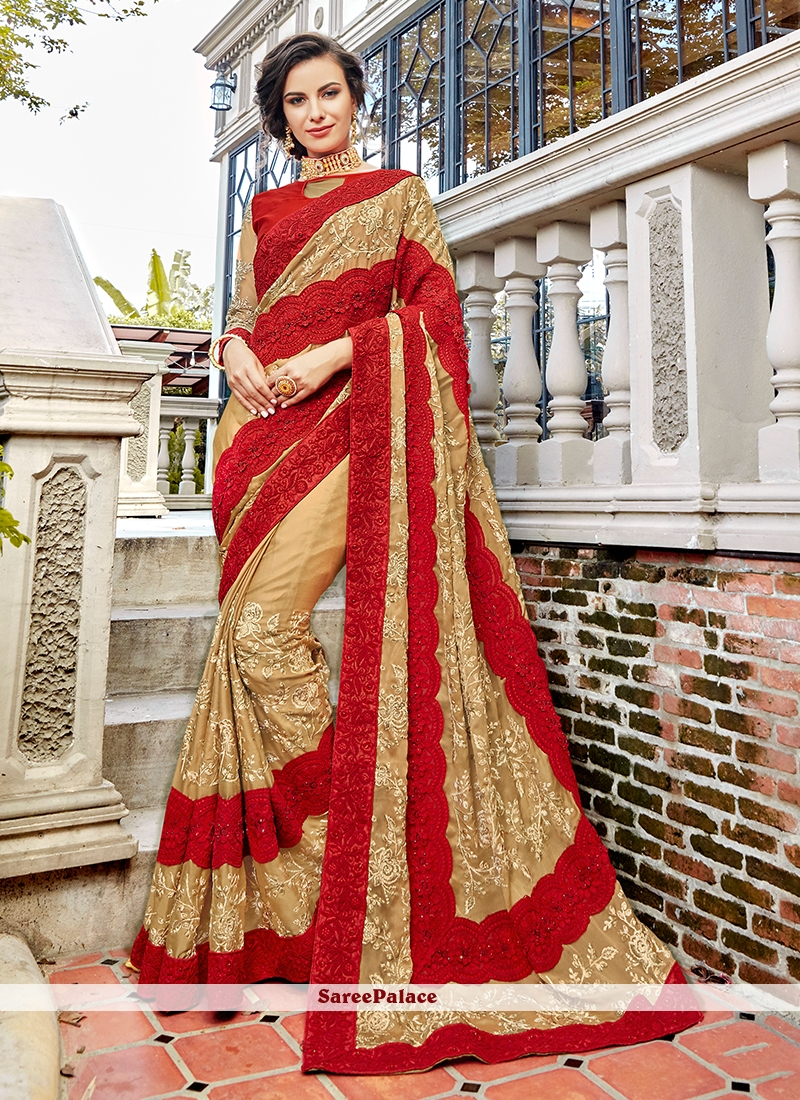 Embroidered Beige and Red Traditional Saree