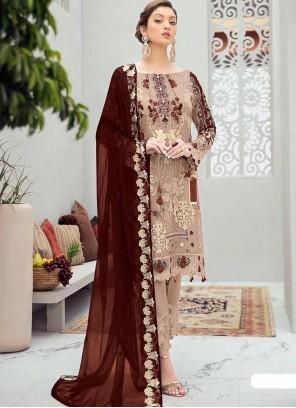 Embroidered Beige Designer Pakistani Salwar Suit