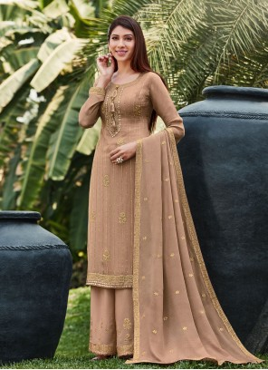 Embroidered Beige Faux Chiffon Designer Palazzo Salwar Suit
