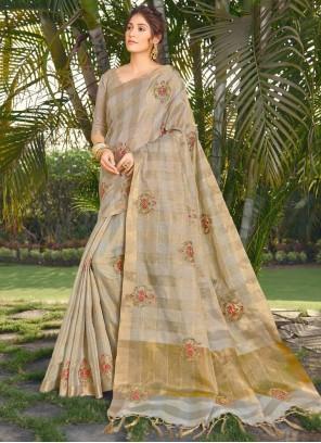 Embroidered Beige Silk Traditional Designer Saree