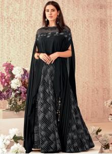 Embroidered Black A Line Lehenga Choli