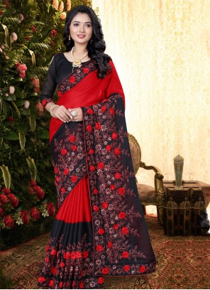 Embroidered Black and Red Classic Saree