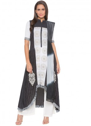 Embroidered Black and White Cotton Readymade Suit