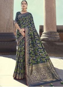 Embroidered Black Art Banarasi Silk Designer Traditional Saree