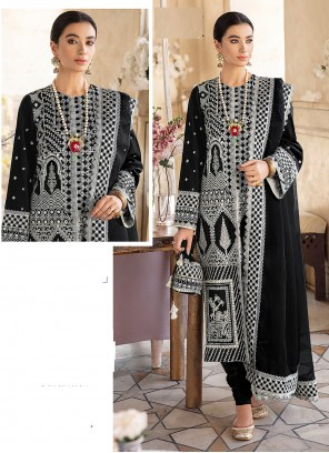 Embroidered Black Churidar Designer Suit