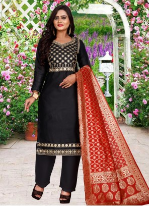 Embroidered Black Cotton Salwar Suit