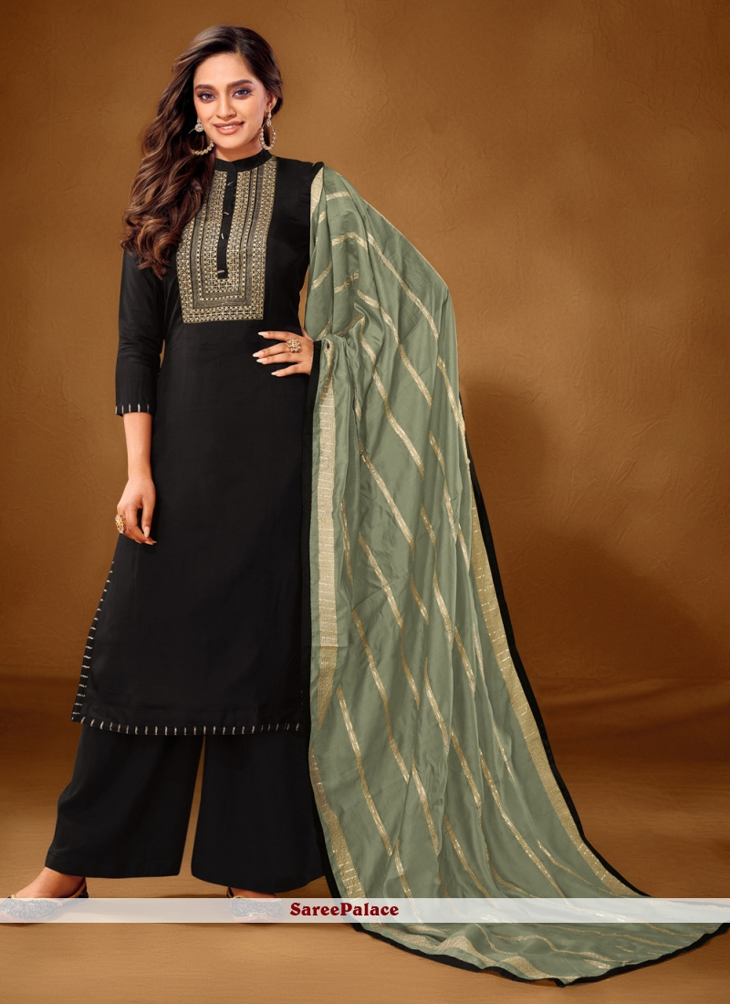 Embroidered Black Designer Pakistani Salwar Suit
