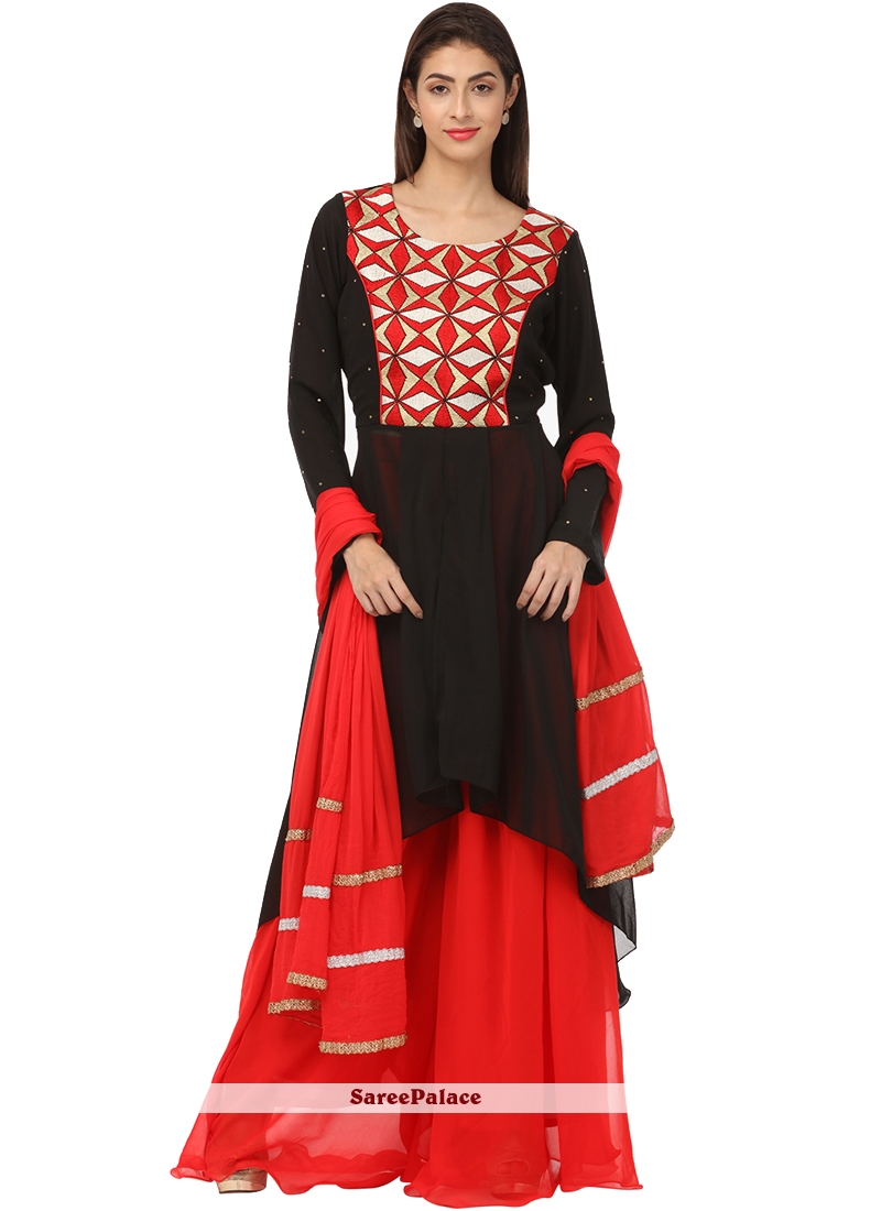 c1a61feecc2 Buy Embroidered Black Georgette Palazzo Salwar Suit Online