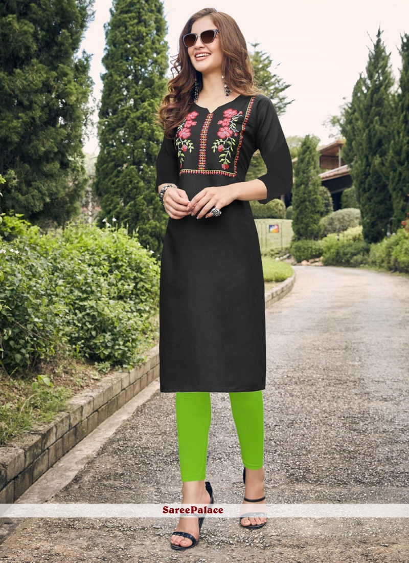 Embroidered Black Party Wear Kurti