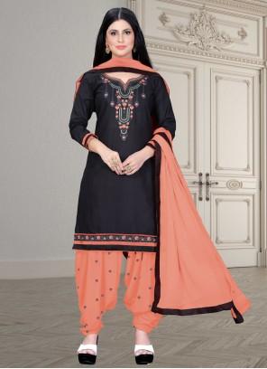 Embroidered Black Patiala Salwar Suit