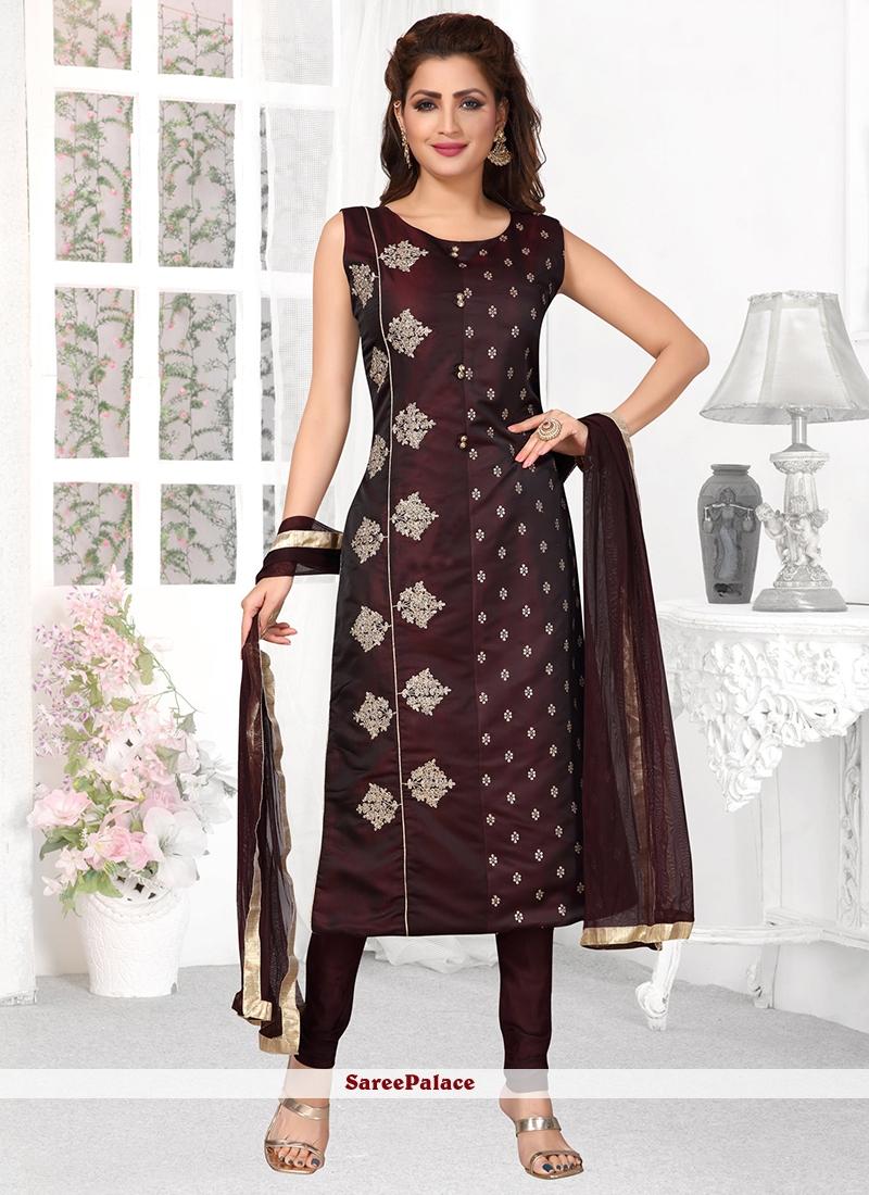 Embroidered Black Tafeta Silk Designer Suit