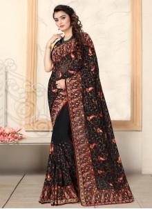 Embroidered Black Trendy Saree