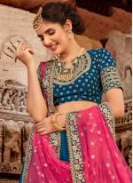 Embroidered Blended Cotton Designer Lehenga Choli in Blue