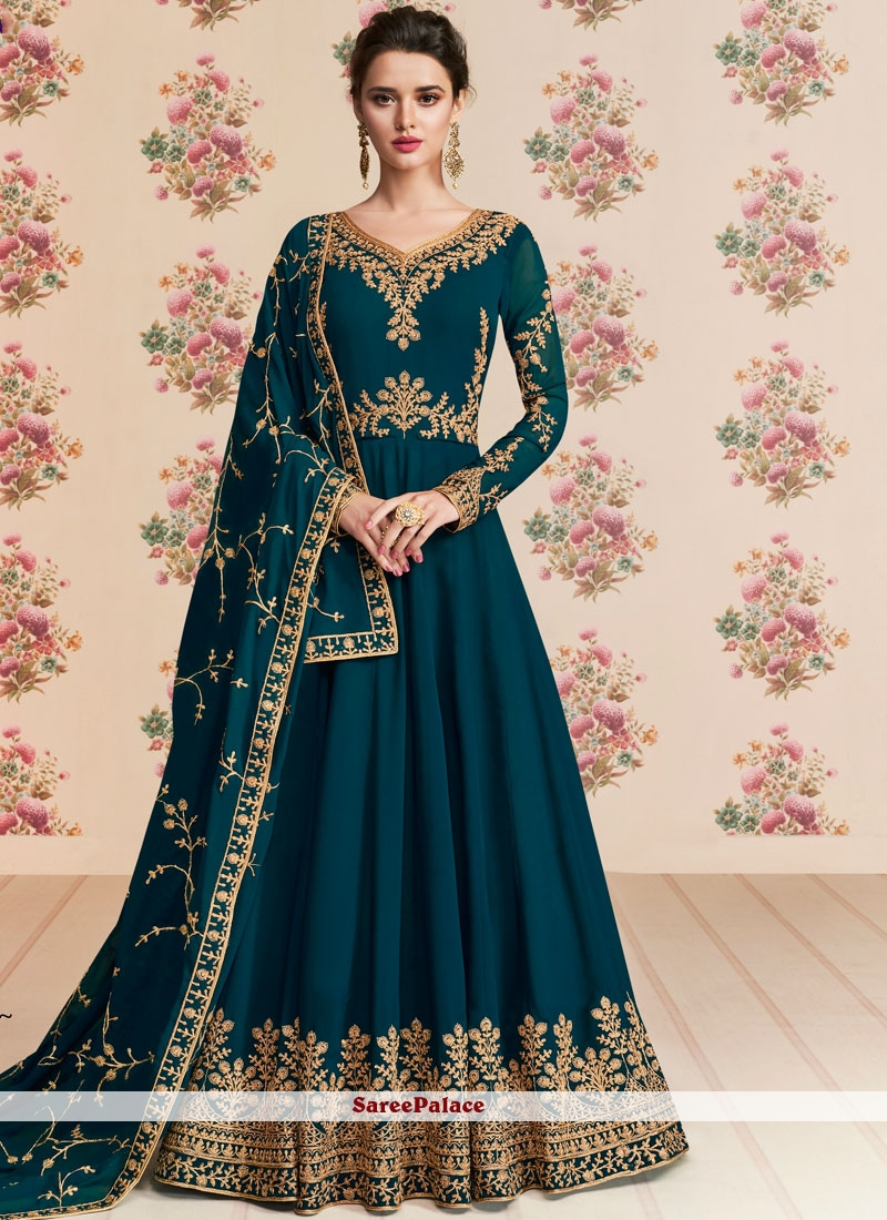 Embroidered Blue Anarkali Salwar Kameez